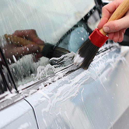 5morbide spazzole naturali, in pelo di maiale, per la pulizia di bocchette, cruscotto, allestimento, sedili, ruote dell'auto