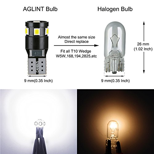 AGLINT T10 CANBUS LED Lampadine 12V W5W 194 168 2825 Cuneo Tipo Luci Dell