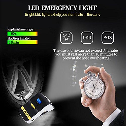 Compressore Aria portatile,AUPERTO 12V Digitale Auto Pompa Con Lampada a LED,3 Adattatori Di Valvola Adatto per Biciclette, Motocicli, Macchine Piccole e Medie