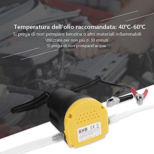 GHB Pompa Aspirazione Pompa Estrattore Per Aspirazione Olio Motore e Gasolio 60W 12V