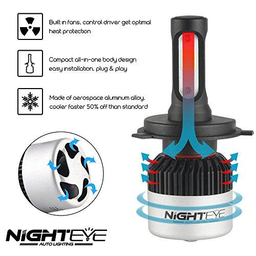 4500lm ogni Pera nighteye 2 X H4 Faro Kit 72 W 36 W ogni Pera 3 anni di garanzia 9000lm ,6500 K lampadina del riflettore con Bridgelux LED COB Chip