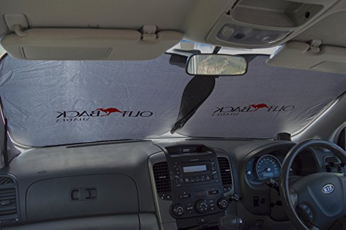 """Aoafun Windshield Sun Shade-Luxurious 210T fabric for maximum UV and Sun protection 63/"""" x 34/"""" Easy Storage foldable sunshade for car windshield will keep your car cooler-Reflective Coating"""