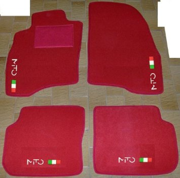 Set Completo di Tappetini in Moquette su Misura Neri con Ricamo a Filo Bianco Tappeti per Auto con Posteriore Intero